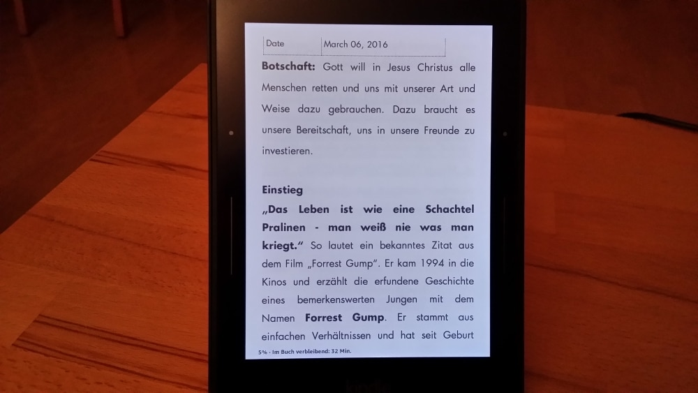 Predigen digital vom … Kindle